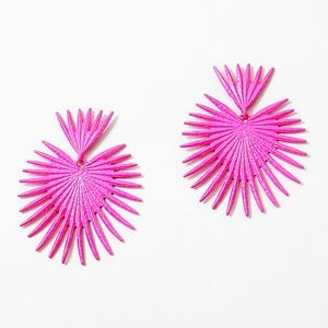 Jewelry - NEON PINK METAL SPIKE HEART EARRINGS